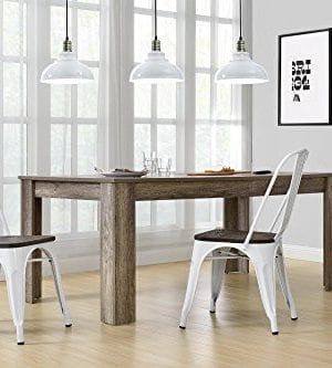DHP Fusion Metal Dining Chair With Wood Seat Distressed Metal Finish For Industrial Appeal Set Of Two White 0 2 300x333