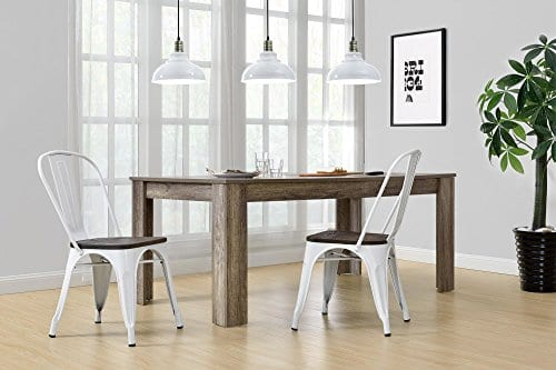 DHP Fusion Metal Dining Chair With Wood Seat Distressed Metal Finish For Industrial Appeal Set Of Two White 0 2