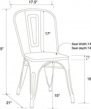 DHP Fusion Metal Dining Chair With Wood Seat Distressed Metal Finish For Industrial Appeal Set Of Two White 0 3 300x360