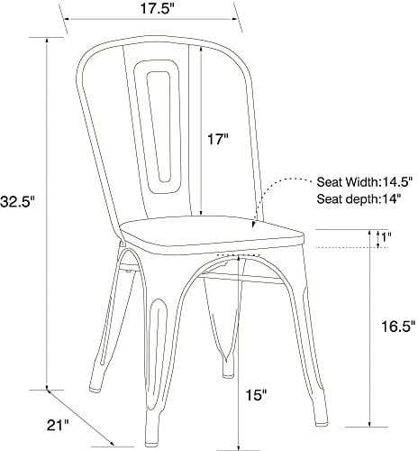 DHP Fusion Metal Dining Chair With Wood Seat Distressed Metal Finish For Industrial Appeal Set Of Two White 0 3