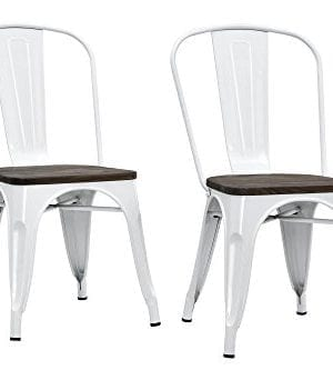 DHP Fusion Metal Dining Chair With Wood Seat Distressed Metal Finish For Industrial Appeal Set Of Two White 0 300x333