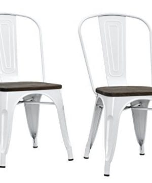 DHP Fusion Metal Dining Chair With Wood Seat Distressed Metal Finish For Industrial Appeal Set Of Two White 0 4 300x360