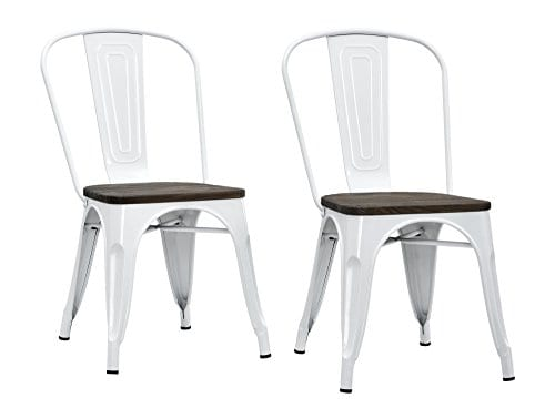 DHP Fusion Metal Dining Chair With Wood Seat Distressed Metal Finish For Industrial Appeal Set Of Two White 0 4