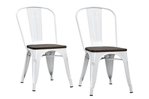 DHP Fusion Metal Dining Chair With Wood Seat Distressed Metal Finish For Industrial Appeal Set Of Two White 0