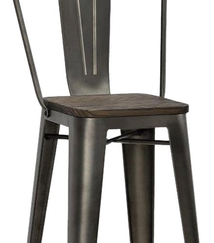 DHP Luxor Metal Counter Stool With Wood Seat Set Of 2 0