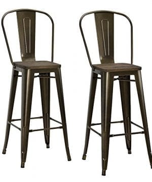 DHP Luxor Metal Counter Stool With Wood Seat And Backrest Set Of Two 30 Antique Bronze 0 300x360