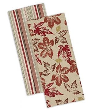 DII Cotton Decorative Dish Towels 18x28 Set Of 2 Kitchen Tea Towels For Everyday Cooking And Baking Rustic Leaves 0 300x360