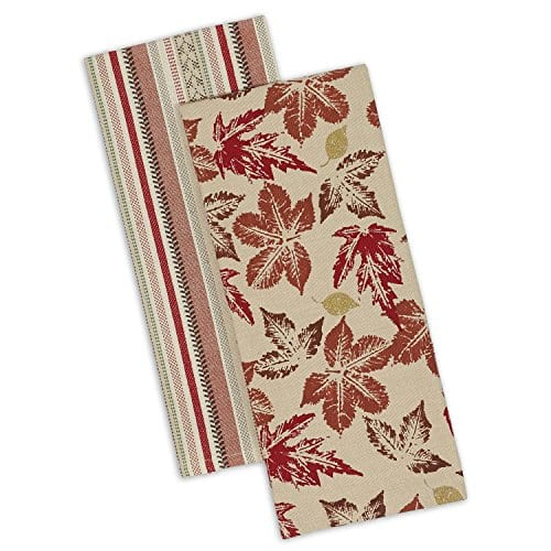 DII Cotton Decorative Dish Towels 18x28 Set Of 2 Kitchen Tea Towels For Everyday Cooking And Baking Rustic Leaves 0