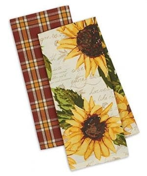 DII Design Imports Set 2 Rustic Sunflower Kitchen Dish Towels Rustic Sunflower Print Rustic Plaid 0 300x360