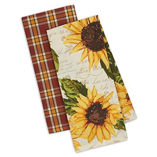 DII Design Imports Set 2 Rustic Sunflower Kitchen Dish Towels - Rustic  Sunflower Print - Rustic Plaid