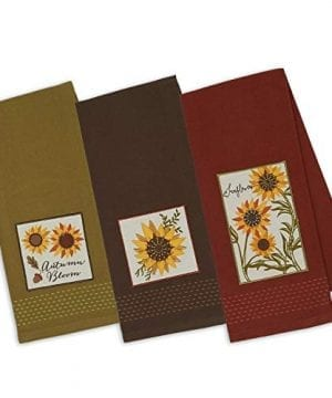 DII Design Imports Set 3 Rustic Sunflower Embellished Kitchen Dish Towels Brown Green Rust Red 0 300x360