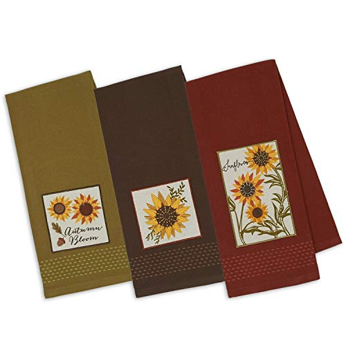 DII Design Imports Set 3 Rustic Sunflower Embellished Kitchen Dish Towels Brown Green Rust Red 0