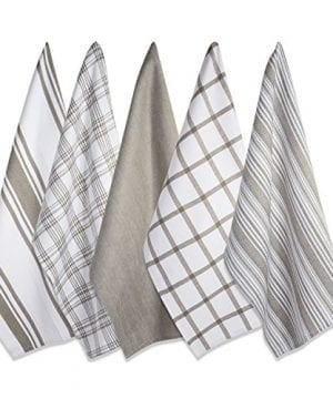 DII Kitchen Dish Towels Brown 18x28 Ultra Absorbent Fast Drying Professional Grade Cotton Tea Towels For Everyday Cooking And Baking Assorted Patterns Set Of 5 0 0 300x360