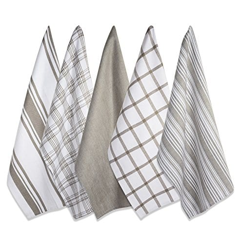 DII Kitchen Dish Towels Brown 18x28 Ultra Absorbent Fast Drying Professional Grade Cotton Tea Towels For Everyday Cooking And Baking Assorted Patterns Set Of 5 0 0