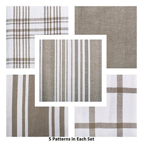 DII Kitchen Dish Towels Brown 18x28 Ultra Absorbent Fast Drying Professional Grade Cotton Tea Towels For Everyday Cooking And Baking Assorted Patterns Set Of 5 0 1