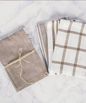 DII Kitchen Dish Towels Brown 18x28 Ultra Absorbent Fast Drying Professional Grade Cotton Tea Towels For Everyday Cooking And Baking Assorted Patterns Set Of 5 0 2 300x360