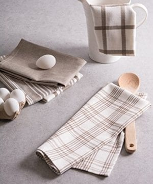 DII Kitchen Dish Towels Brown 18x28 Ultra Absorbent Fast Drying Professional Grade Cotton Tea Towels For Everyday Cooking And Baking Assorted Patterns Set Of 5 0 3 300x360