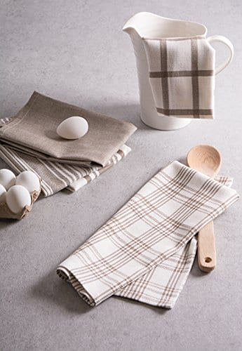 DII Kitchen Dish Towels Brown 18x28 Ultra Absorbent Fast Drying Professional Grade Cotton Tea Towels For Everyday Cooking And Baking Assorted Patterns Set Of 5 0 3