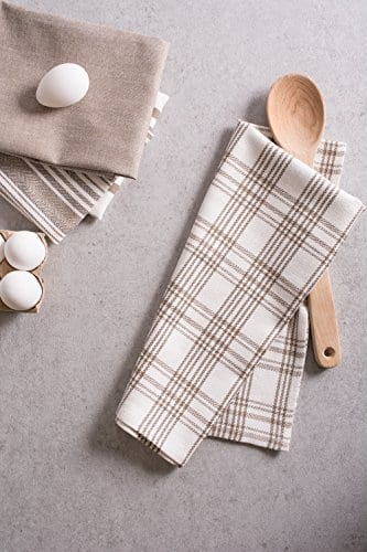 DII Kitchen Dish Towels Brown 18x28 Ultra Absorbent Fast Drying Professional Grade Cotton Tea Towels For Everyday Cooking And Baking Assorted Patterns Set Of 5 0 5