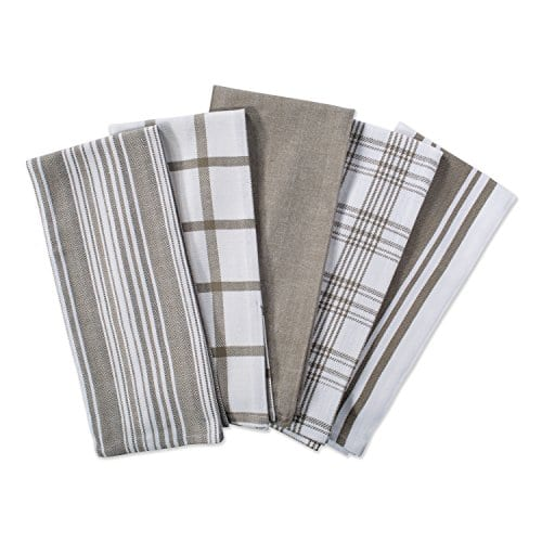 DII Kitchen Dish Towels Brown 18x28 Ultra Absorbent Fast Drying Professional Grade Cotton Tea Towels For Everyday Cooking And Baking Assorted Patterns Set Of 5 0