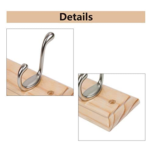 DOKEHOM DKH0116NP2 6 Satin Nickel Hooks 4 Colors Available 4 And 6 Hooks On Pine Wooden Board Coat Rack Hanger Mail Box Packing 0 1