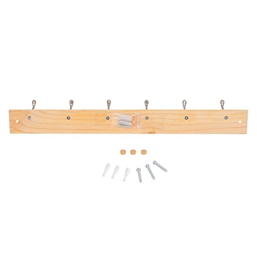 DOKEHOM DKH0116NP2 6 Satin Nickel Hooks 4 Colors Available 4 And 6 Hooks On Pine Wooden Board Coat Rack Hanger Mail Box Packing 0 4