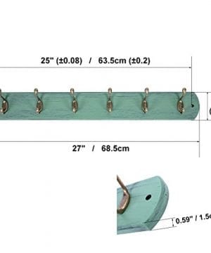 DOKEHOM DKH0166DB 6 Antique Brass Hooks 4 Colors Available 4 And 6 Hooks On Natural Pine Wooden Coat Rack Hanger Mail Box Packing Mediterranean Blue 0 0 300x360