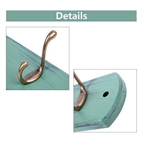 DOKEHOM DKH0166DB 6 Antique Brass Hooks 4 Colors Available 4 And 6 Hooks On Natural Pine Wooden Coat Rack Hanger Mail Box Packing Mediterranean Blue 0 1