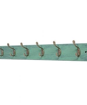 DOKEHOM DKH0166DB 6 Antique Brass Hooks 4 Colors Available 4 And 6 Hooks On Natural Pine Wooden Coat Rack Hanger Mail Box Packing Mediterranean Blue 0 300x360