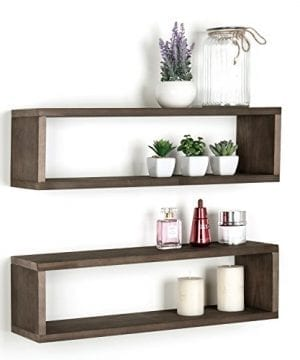 Dark Brown Wood Finish Wall Mounted 24 Inch Floating Shelf Rectangular Display Shadow Boxes Set Of 2 0 300x360