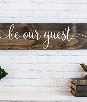 Dark Walnut Be Our Guest Wooden Sign Rustic Farmhouse Wood Handmade Decor 0 1 300x352