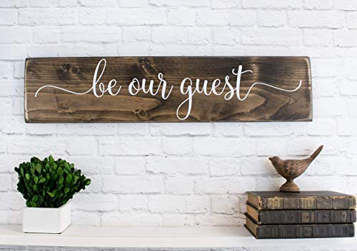Dark Walnut Be Our Guest Wooden Sign Rustic Farmhouse Wood Handmade Decor 0 1