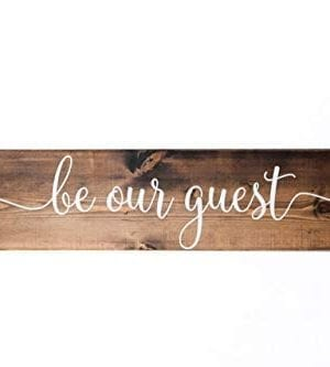 Dark Walnut Be Our Guest Wooden Sign Rustic Farmhouse Wood Handmade Decor 0 300x333