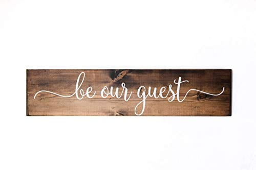Dark Walnut Be Our Guest Wooden Sign Rustic Farmhouse Wood Handmade Decor 0