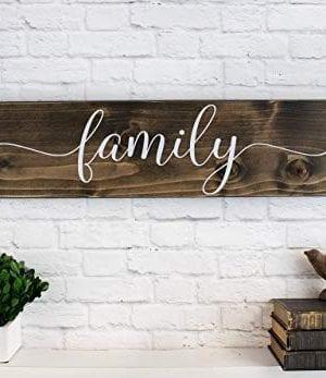 Dark Walnut Family Wooden Sign Rustic Farmhouse Wood Handmade Decor 0 0 300x347