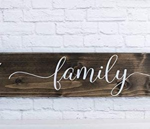 Dark Walnut Family Wooden Sign Rustic Farmhouse Wood Handmade Decor 0 300x259