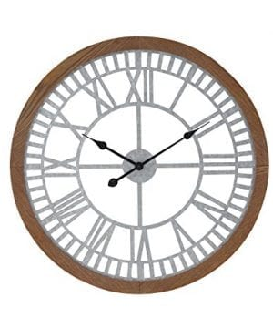 Deco 79 22650 Wall Clock Rustic BrownBlackLight Gray 0 300x360