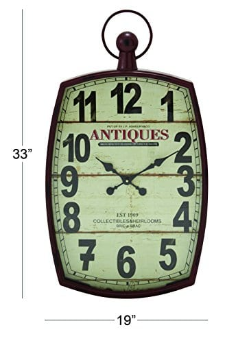 Deco 79 Metal Wall Clock 19 By 33 0 0