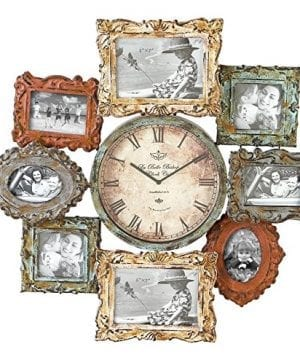 Deco 79 Rustic Distressed Metal Photo Frame Wall Clock 25x25 Multi Colored Finish 0 300x360