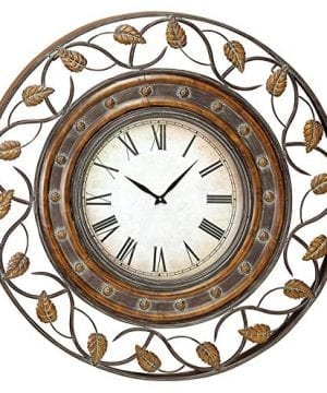 Deco 79 Rustic Round Metal Fretwork And Floret Design Framed Wall Clock 36 Diameter Tarnished Bronze Finish 0 300x360