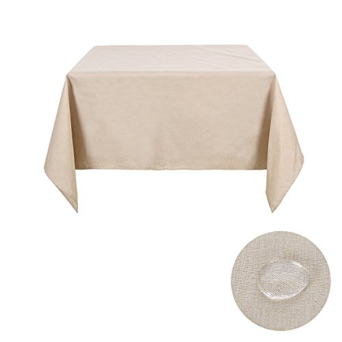 Deconovo Decorative Wrinkle Resistant Linen Look Square Tablecloth For Dining Room 0 1