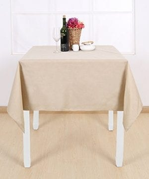 Deconovo Decorative Wrinkle Resistant Linen Look Square Tablecloth For Dining Room 0 2 300x360