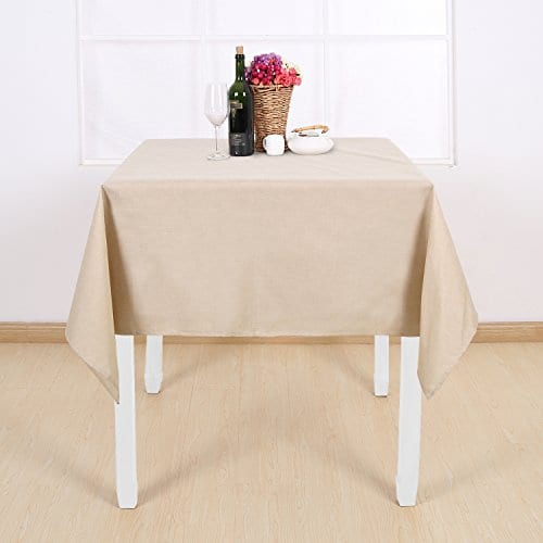 Deconovo Decorative Wrinkle Resistant Linen Look Square Tablecloth For Dining Room 0 2