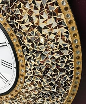 DecorShore 23 Decorative Wall Clock Silent Clock With Decorative Glass Mosaic Oversized Wall Clock Name Golden Sands Gold Citrine Chocolate Opal Look 0 0 300x360