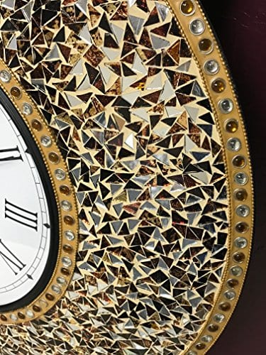 DecorShore 23 Decorative Wall Clock Silent Clock With Decorative Glass Mosaic Oversized Wall Clock Name Golden Sands Gold Citrine Chocolate Opal Look 0 0