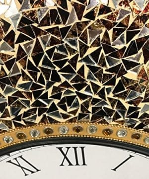 DecorShore 23 Decorative Wall Clock Silent Clock With Decorative Glass Mosaic Oversized Wall Clock Name Golden Sands Gold Citrine Chocolate Opal Look 0 1 300x360