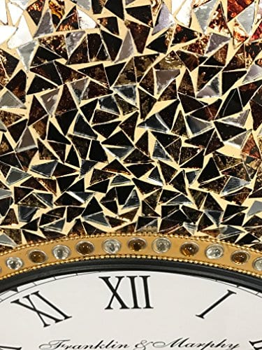 DecorShore 23 Decorative Wall Clock Silent Clock With Decorative Glass Mosaic Oversized Wall Clock Name Golden Sands Gold Citrine Chocolate Opal Look 0 1