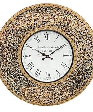 DecorShore 23 Decorative Wall Clock Silent Clock With Decorative Glass Mosaic Oversized Wall Clock Name Golden Sands Gold Citrine Chocolate Opal Look 0 300x360