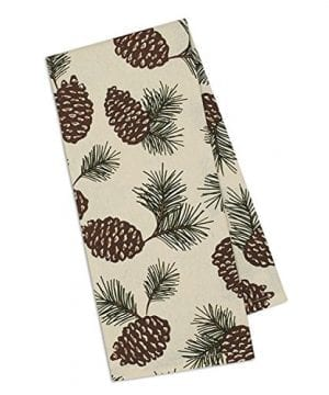 Design Imports Mountain Pine Cotton Table Linens Dishtowel 18 Inch By 28 Inch Pinecone Print 0 300x360
