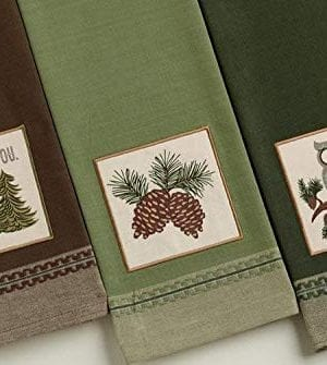 Design Imports Mountain Pine Cotton Table Linens Dishtowel 18 Inch By 28 Inch Set Of 3 1 I Pine Fir You Embellished 1 Pinecone Sprig Embellished And 1 Cascade Owl Embellished 0 300x335